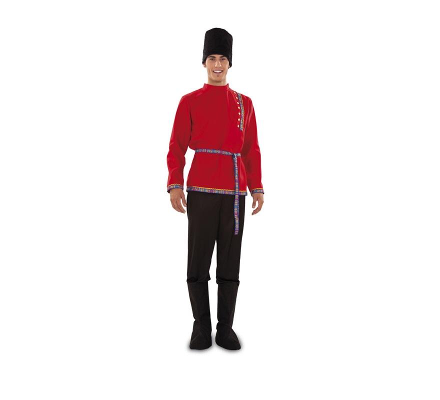 Disfraz de Ruso para hombre. Talla standar M-L = 52/54. Incluye gorro, camisa, cinturón, pantalón y cubrebotas.