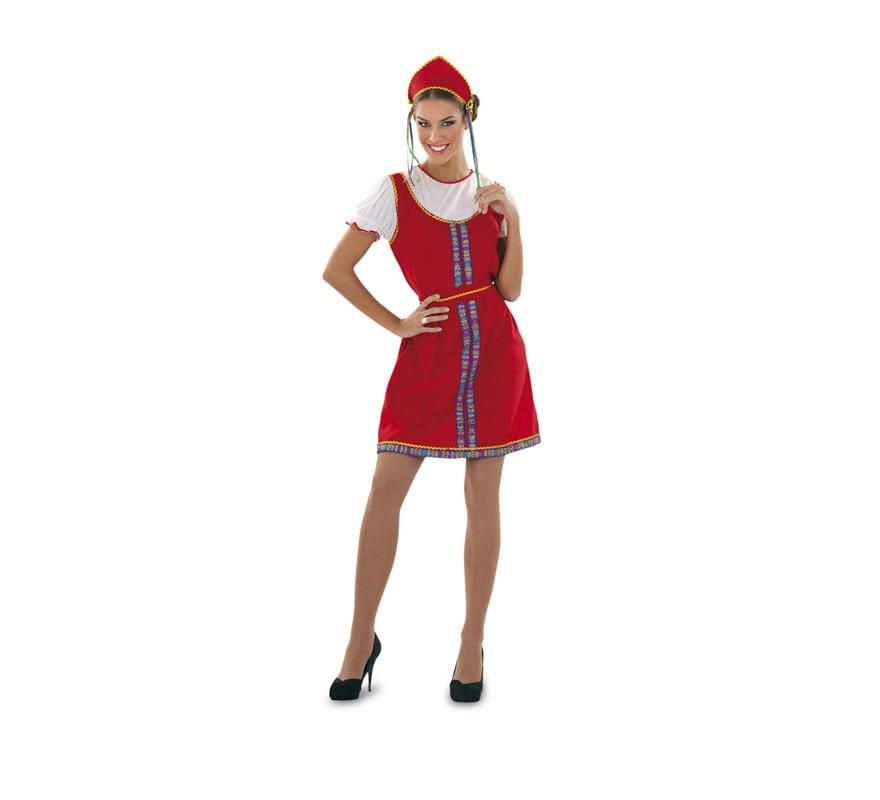 Disfraz de Rusa para mujer. Talla standar M-L = 38/42. Incluye tiara, vestido y cinturón.
