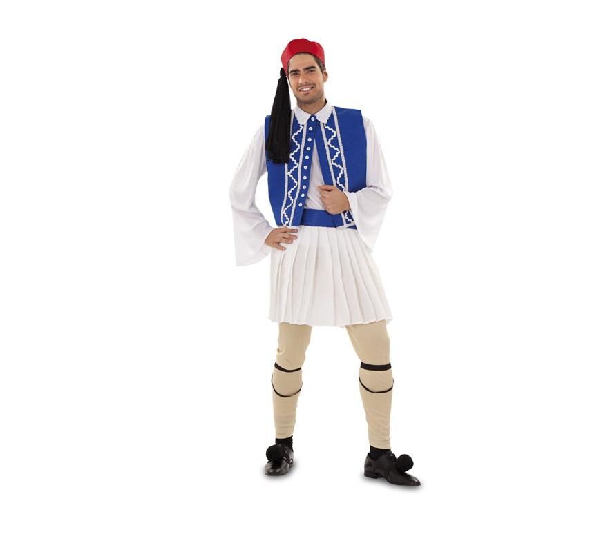 Disfraz de Griego para hombre. Talla standar M-L = 52/54. Incluye gorro, camisa, falda, chaleco, pantalón, dos ligas y dos pompones.