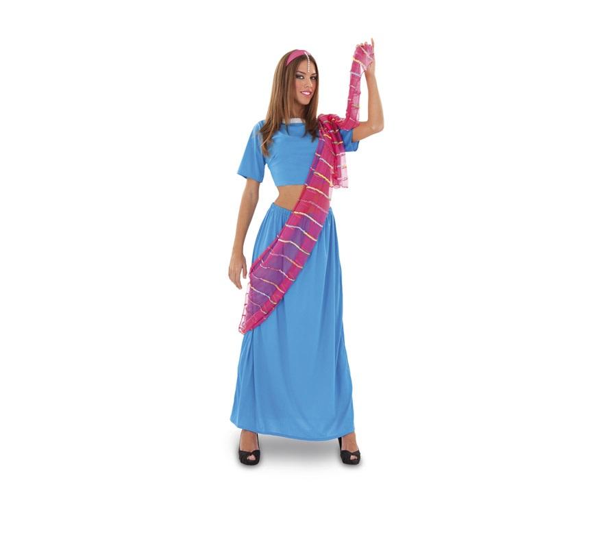 Disfraz de Dhara para mujer. Talla standar M-L 38/42. Incluye top, falda, manto y diadema. También sirve como disfraz de Bailarina India de Bollywood.