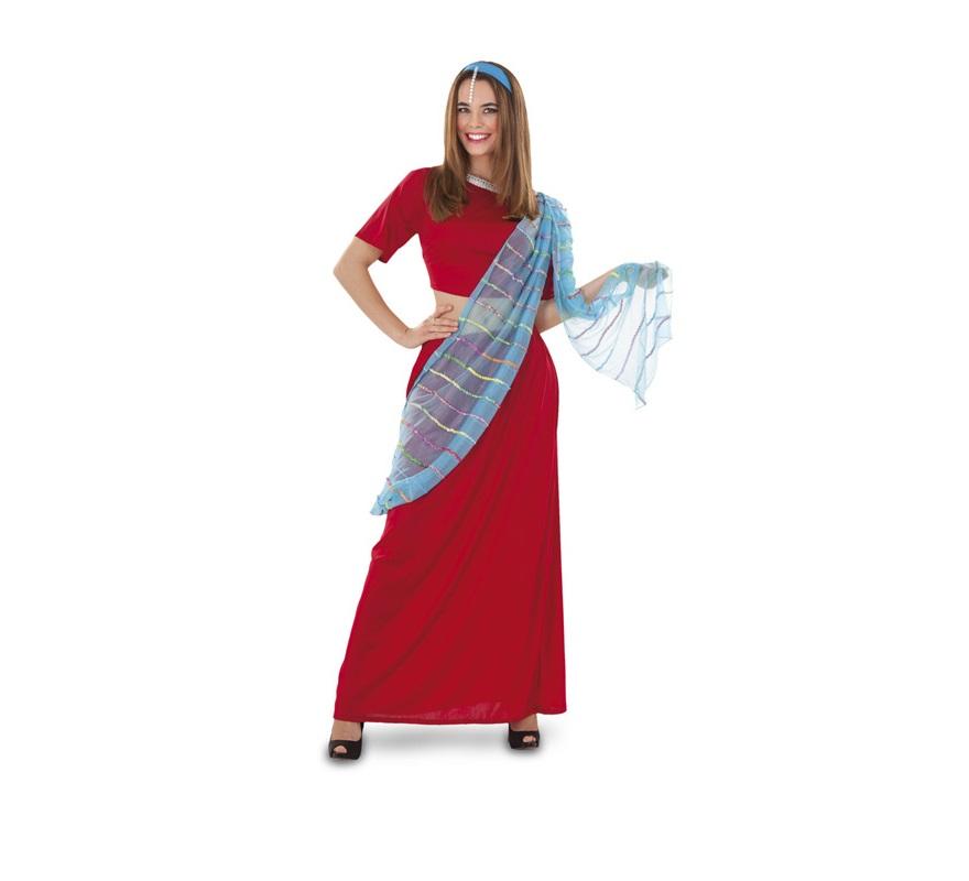 Disfraz de Anamitra o Árabe para mujer. Talla standar M-L 38/42. Incluye top, falda, manto y diadema. También sirve como disfraz de Bailarina India de Bollywood.