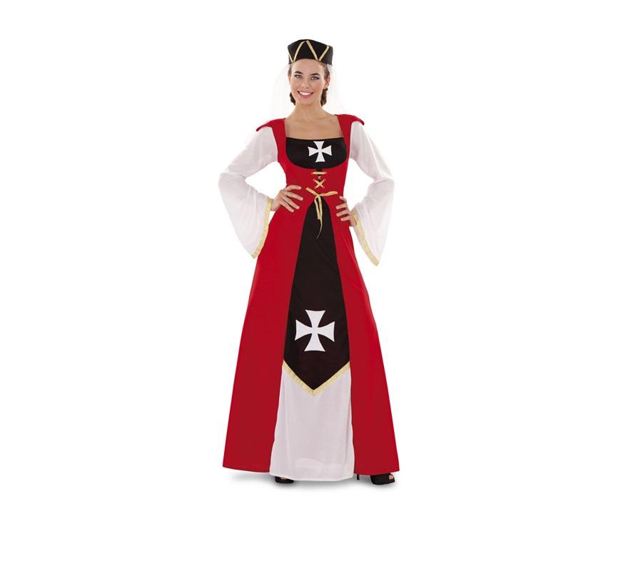 Disfraz de Marquesa de Malta para mujer. Talla Standar M-L = 38/42. Incluye vestido y gorro. Ideal para disfrazarse en alguna Fiesta o Mercado Medieval.