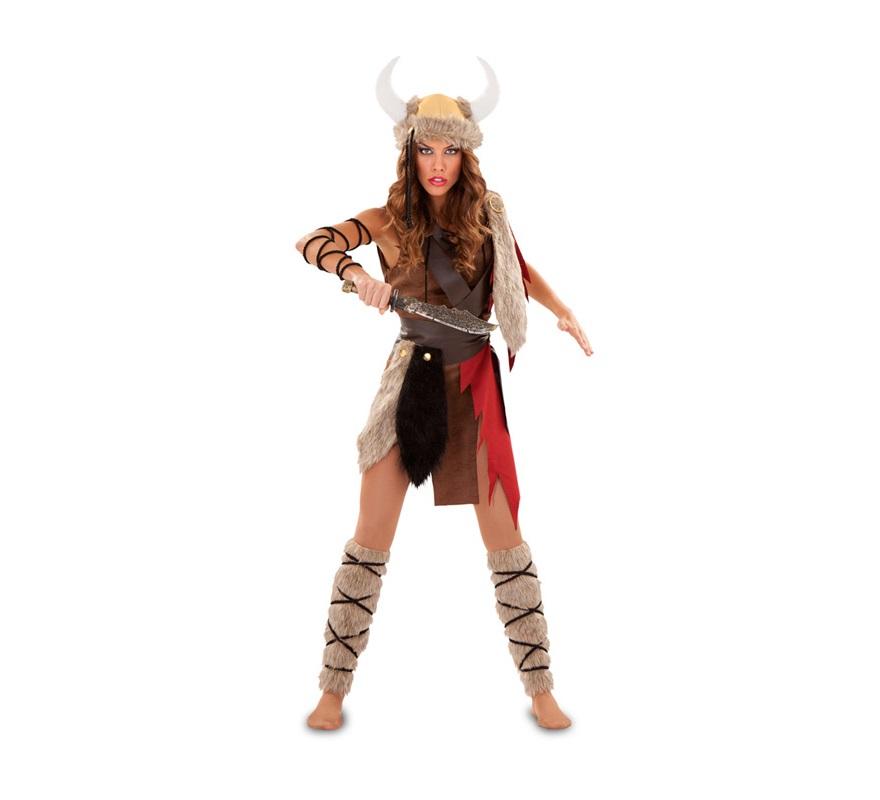 Disfraz de Vikinga o Theodhild para mujer. Talla Standar M-L 38/42. Incluye vestido, cinturón, calentadores y tres cordones. Casco y cuchillo NO incluidos, podrás verlos en la sección de Complementos.