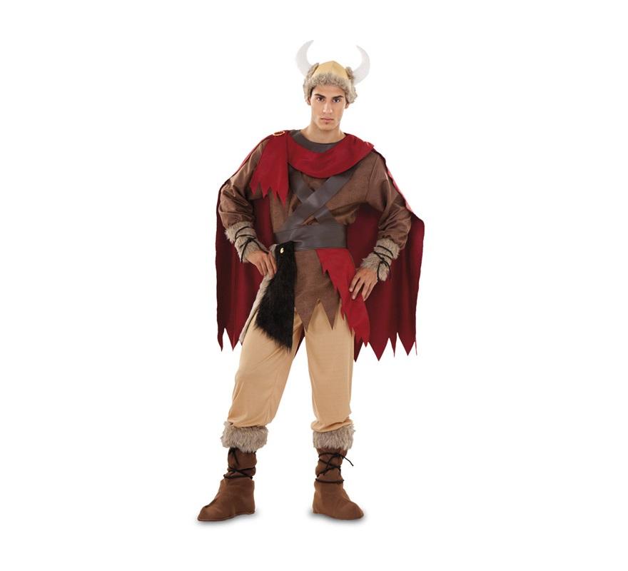 Disfraz de Vikingo o Erik para hombre. Talla Standar M-L 52/54. Incluye casaca, pantalón, cinturón, capa, cubrebotas y cuatro cordones. Casco NO incluido, podrás verlo en la sección de Complementos.