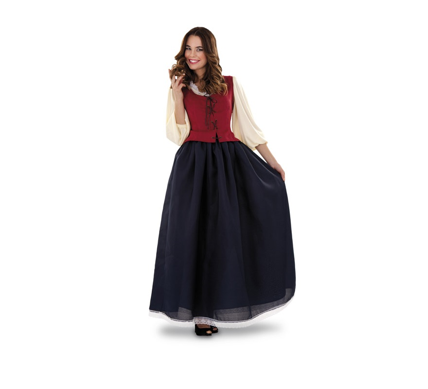 Disfraz de Dulcinea Medieval para mujer. Talla standar M-L 38/42. Incluye vestido y corpiño. Con éste disfraz serás la Dulcinea del Don Quijote.