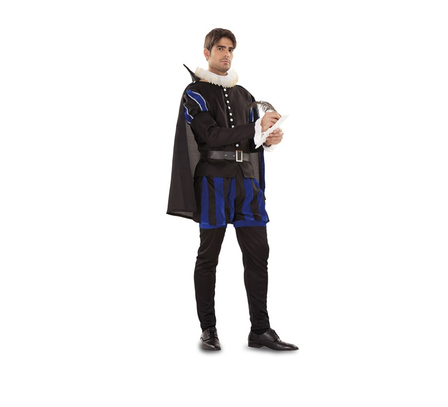 Disfraz de Cervantes Medieval para hombre. Talla standar 52/54. Incluye gorguera, camisa, pantaln corto, pantaln largo y capa. ste disfraz de Medieval es ideal para celebrar las Fiestas o Ferias Medievales.