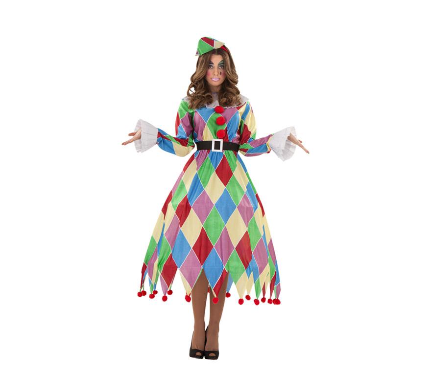 Disfraz de Arlequina para mujer talla M-L. Incluye vestido, tocado y cinturón.