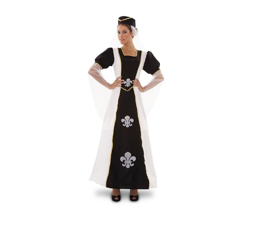 Disfraz de Duquesa de Lis para mujer. Talla Standar M-L = 38/42. Incluye vestido y gorro. Ideal como disfraz de Dama Medieval para Fiestas o Mercado Medieval.