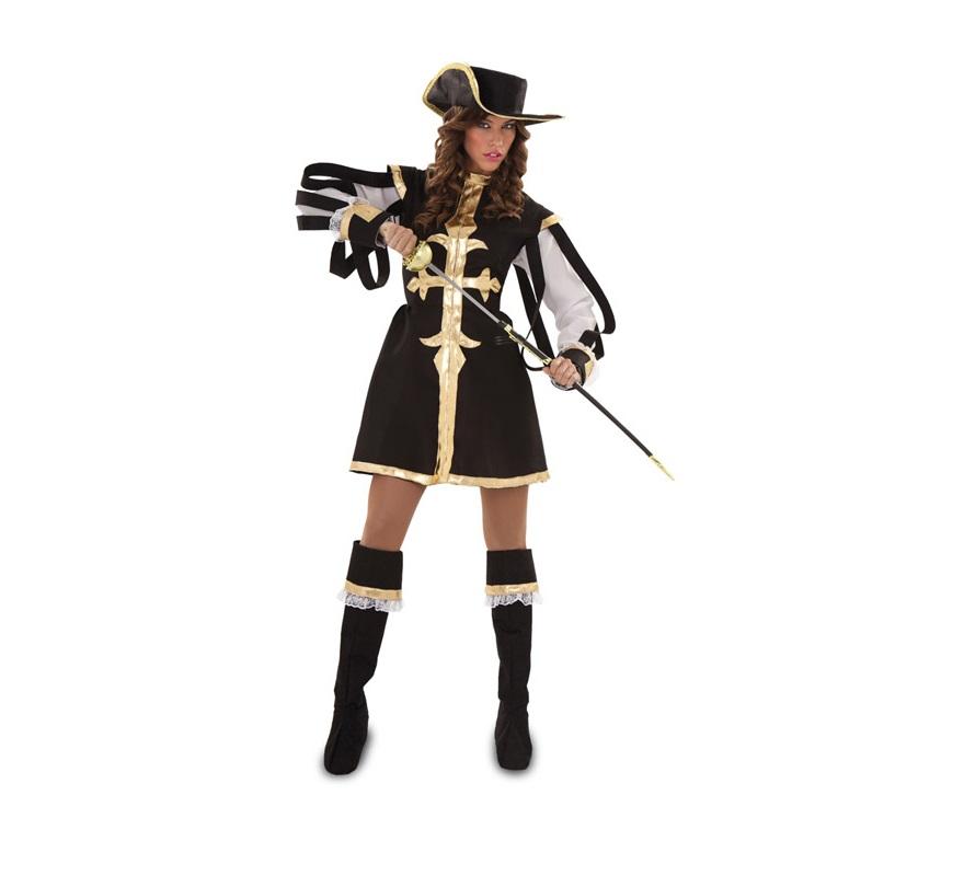 Disfraz de Mosquetera negra para mujer. Talla standar M-L 38/42. Incluye vestido, sombrero y botas. Florete NO incluido, podrás verlo en la sección de Complementos.