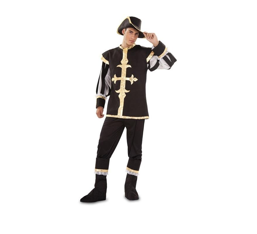 Disfraz de Mosquetero negro para hombre. Talla standar M-L = 52/54. Incluye casaca, pantalón, sombrero y botas.