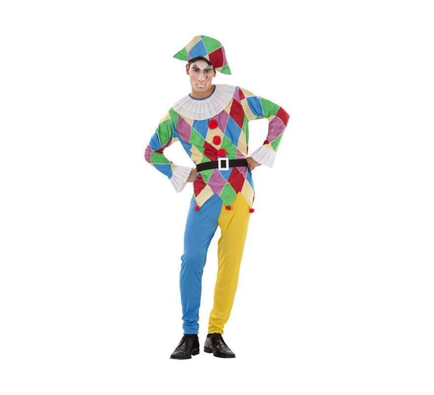 Disfraz de Arlequín para hombre talla M-L. Incluye pantalón, cinturón, camisa y gorro.