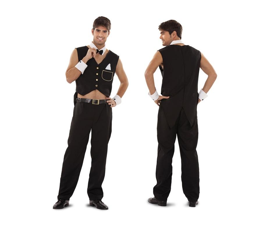 Disfraz de Mayordomo Sexy para hombre. Talla Standar M-L 52/54. Incluye chaleco, pantalón. cinturón, cuello y puños. Ideal para Despedidas de Soltero.