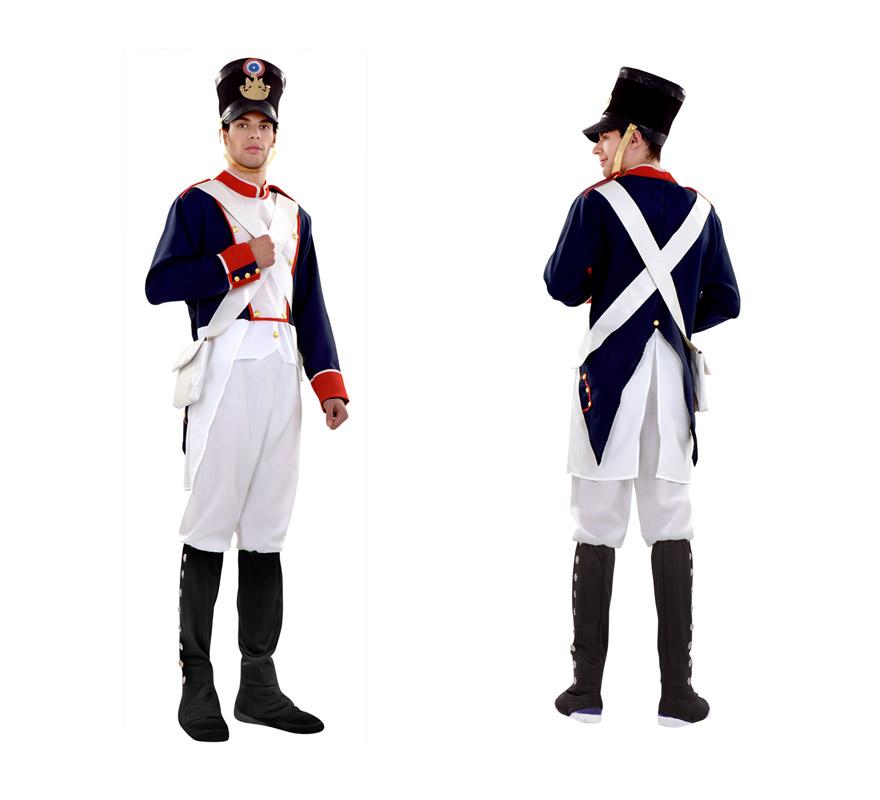 Disfraz de Soldado Napoleónico para hombre. Talla standar M-L 52/54. Incluye casaca, pantalón con botas, bandoleras y sombrero.