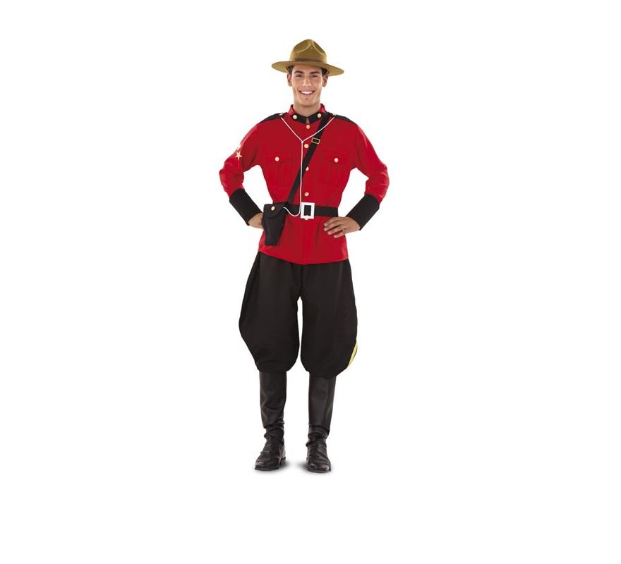 Disfraz de Policía Montada del Canadá para hombre. Talla standar  M-L = 52/54. Incluye chaqueta, pantalón, cinturón, pistolera y botas. Sombrero NO incluido, podrás verlo en la sección de Complementos.