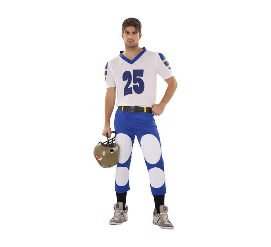 Disfraz de Quarterback o Jugador de Rugby para hombre talla M-L. Incluye camiseta, cinturón y pantalón. Casco NO incluido, podrás verlo en la sección de Complementos.
