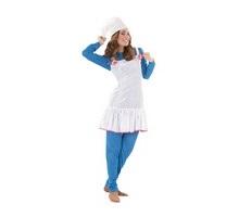 Disfraz de Duende o de Enanita Azul para mujer. Talla standar M-L = 38/42. Incluye gorro, camiseta, mallas y vestido. Ideal para imitar a los Pitufos.