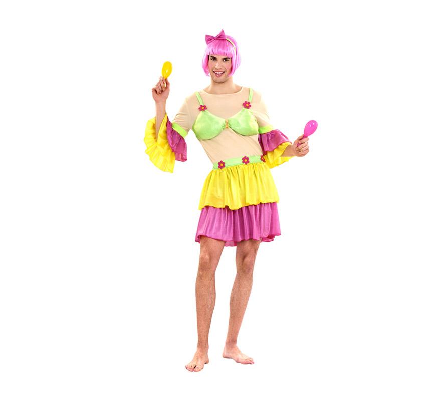 Disfraz de Salsa para hombre. Talla standar M-L 52/54. Incluye camisa, falda y diadema. Maracas y peluca NO incluidas, podrás verlas en la sección de Complementos. Ideal para Despedidas de Soltero.