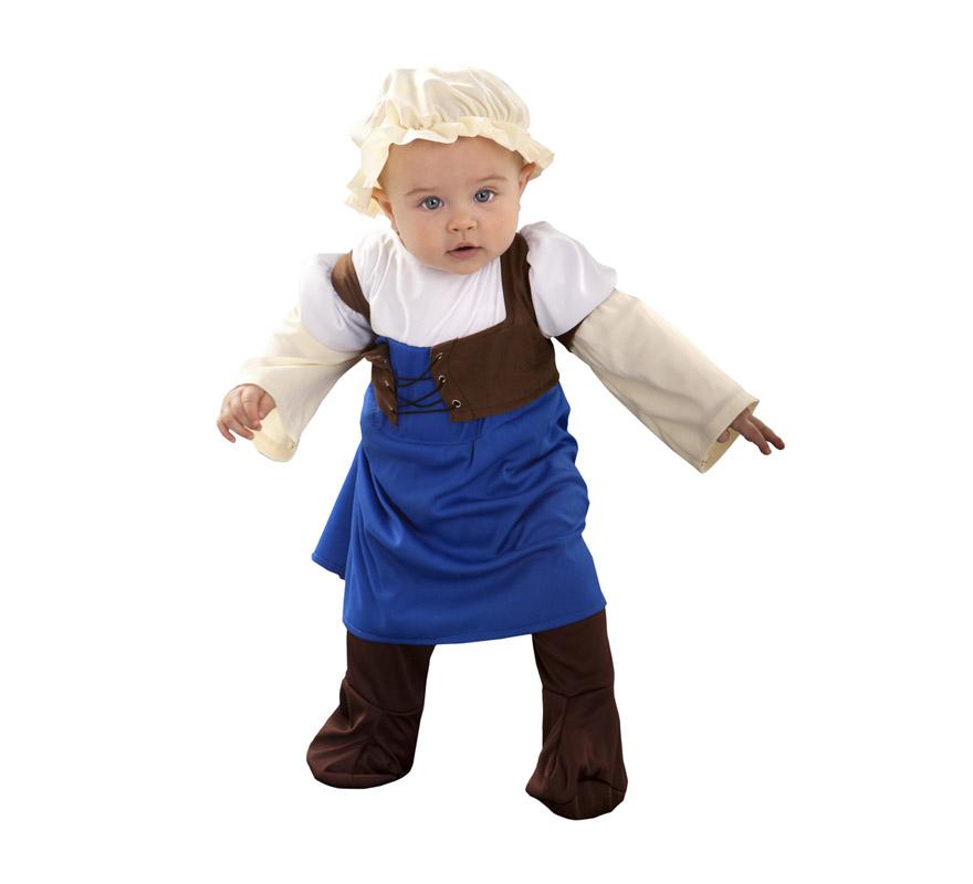 Disfraz de Posadera Medieval para bebé de 6 a 12 meses. Incluye mono y gorro.