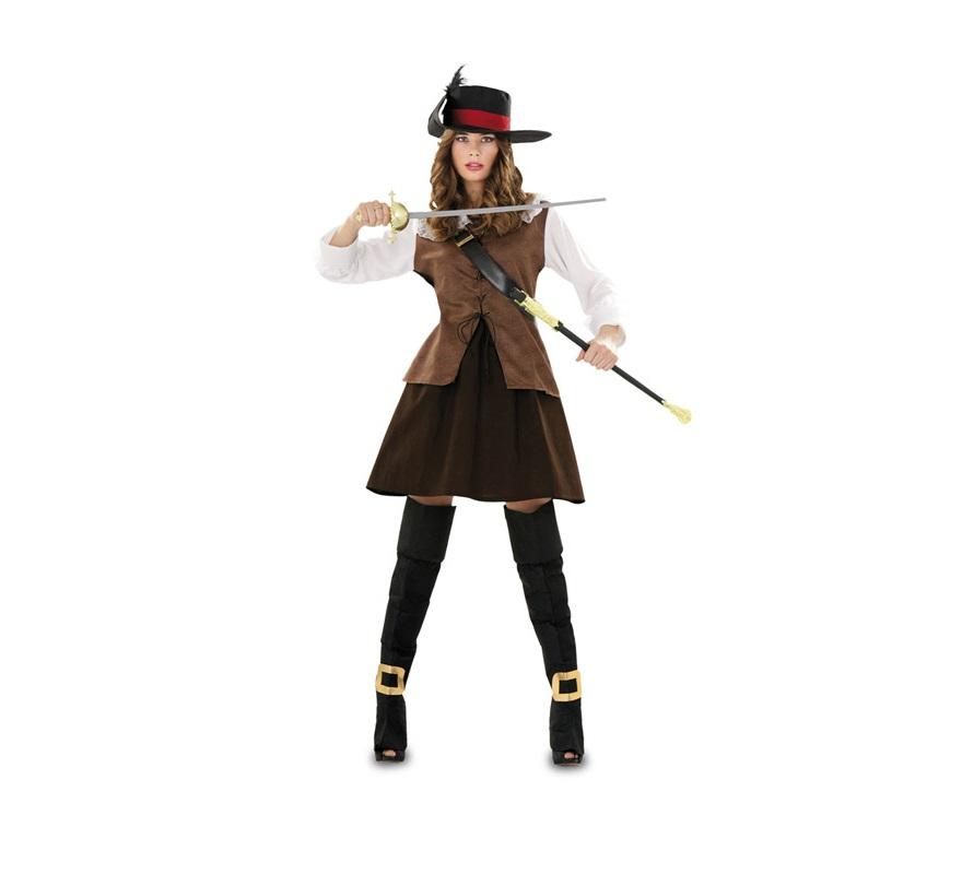 Disfraz de Juliette marrón para mujer. Talla standar M-L = 38/42. Incluye camisa, falda, botas, cinturón y sombrero. Florete NO incluido, podrás verlo en la sección de Complementos. También sirve como disfraz de Mosquetera marrón.