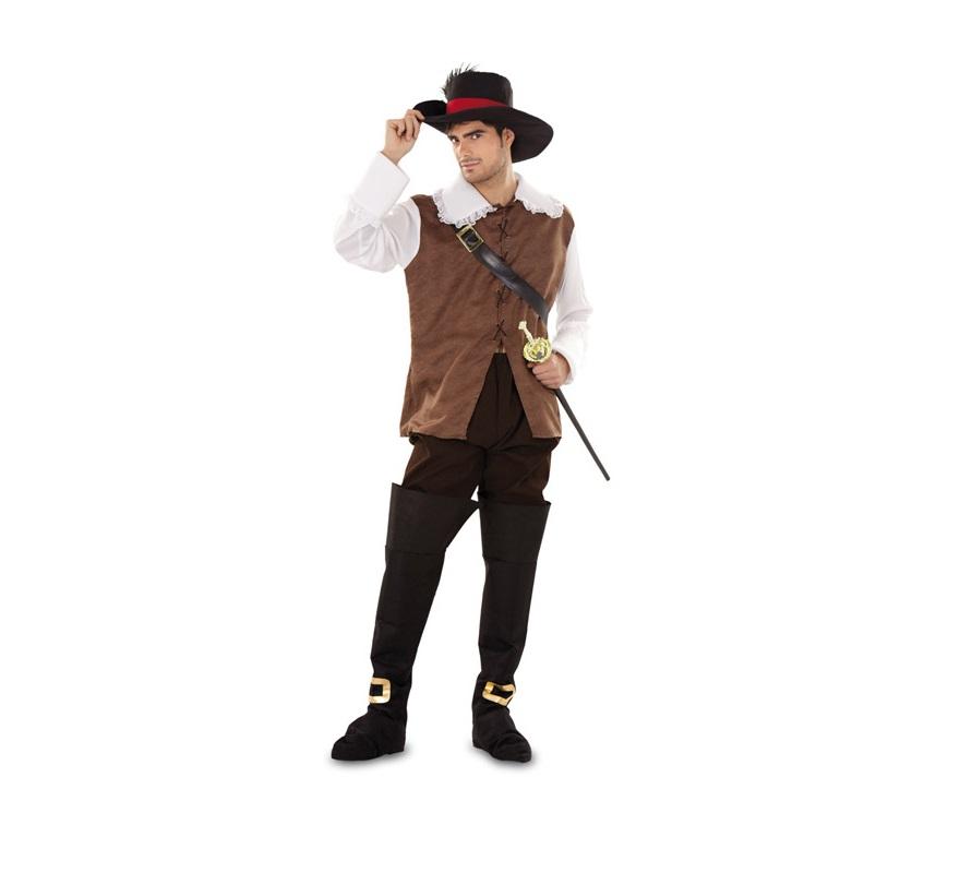 Disfraz de Dartañan marrón para hombre. Talla standar M-L = 52/54. Incluye camisa, pantalón, botas, cinturón y sombrero. Florete NO incluido, podrás verlo en la sección de Complementos. También sirve como disfraz de Mosquetero marrón.