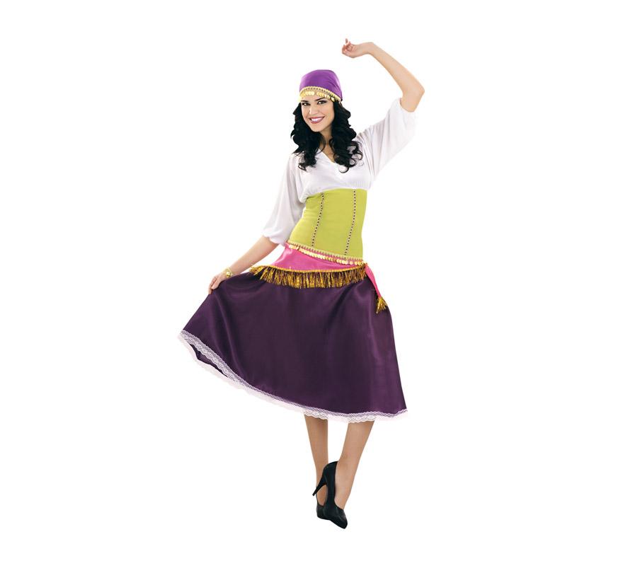 Disfraz de Zíngara o Gitana para mujer. Talla standar M-L 38/42. Incluye falda, blusa con corpiño, pañuelo de la cabeza, pulsera y pañuelo para la cintura.