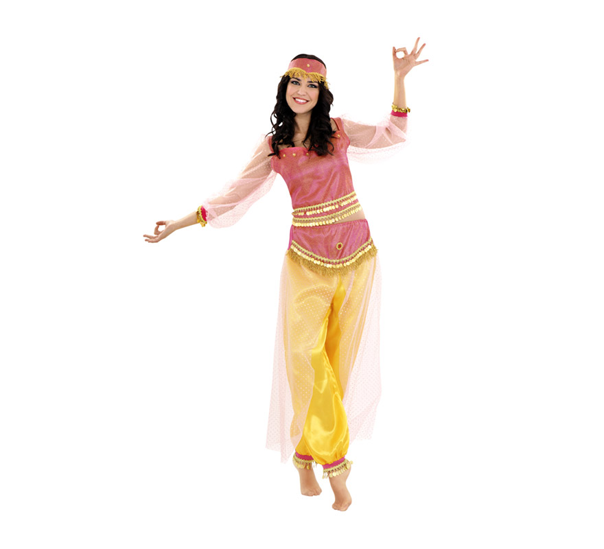 Disfraz de Bailarina Harén para mujer. Talla standar M-L 38/42. Incluye diadema, camisa y pantalón.  También se puede utilizar como disfraz de Paje Real de los Reyes Magos en Navidad.