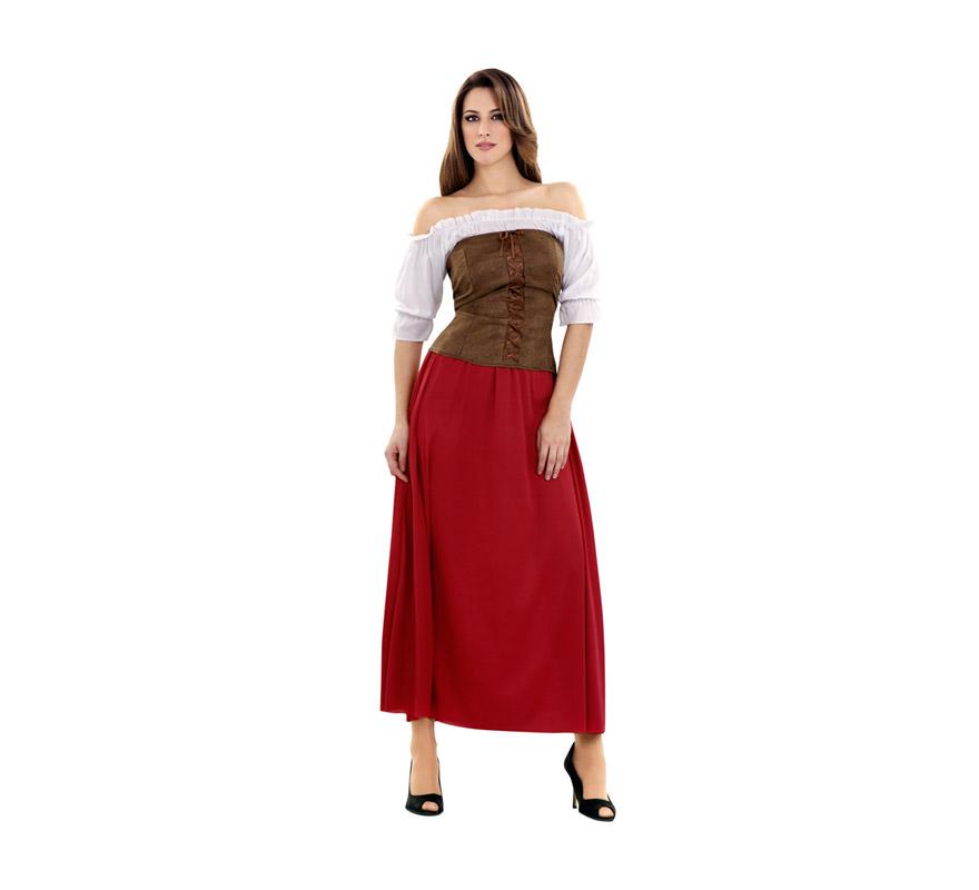 Disfraz de Tabernera Medieval para mujer. Talla standar M-L = 38/42. Incluye vestido y corpiño. Disfraz de Posadera o Mesonera ideal para Ferias y Fiestas Medievales