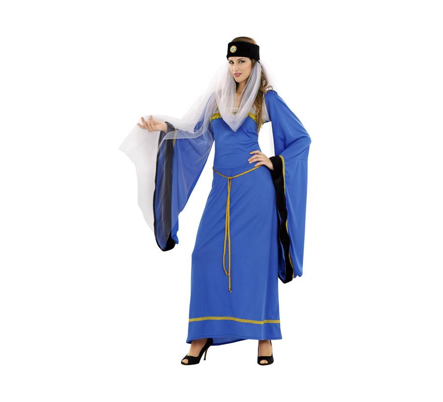Disfraz de Lady Noble azul para mujer. Talla standar M-L 38/42. Incluye vestido, tocado y cinturón. Disfraz de Lady Noble Medieval para mujer.