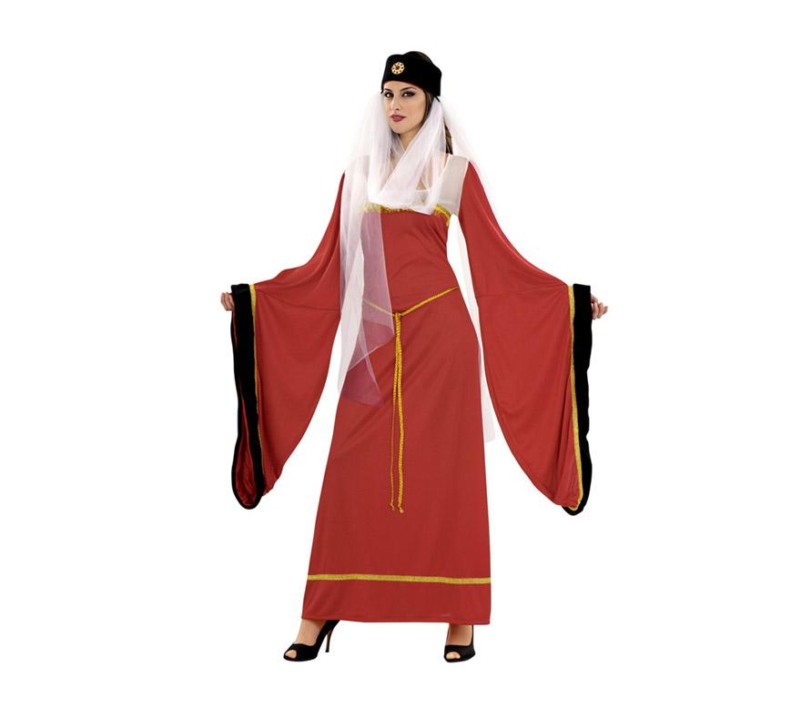 Disfraz de Lady Noble granate para mujer. Talla standar M-L 38/42. Incluye vestido, tocado y cinturón. Disfraz de Lady Noble Medieval para mujer.