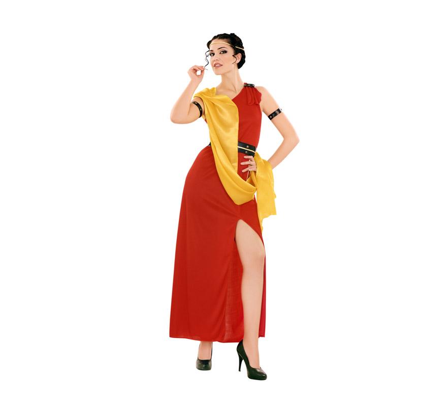 Disfraz barato de Romana Octavia para mujer. Talla Standar M-L 38/42. Incluye túnica con manto, cinturón y cinta para la cabeza. Perfecto para ser la pareja del disfraz de Centurión.