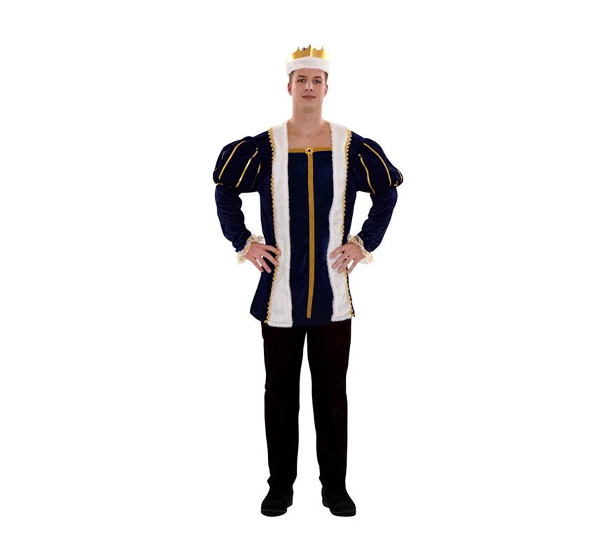 Disfraz de Rey Medieval azul para hombre. Talla standar M-L = 52/54. Incluye pantalón, camisa y corona. Ideal como disfraz de Principe Medieval.