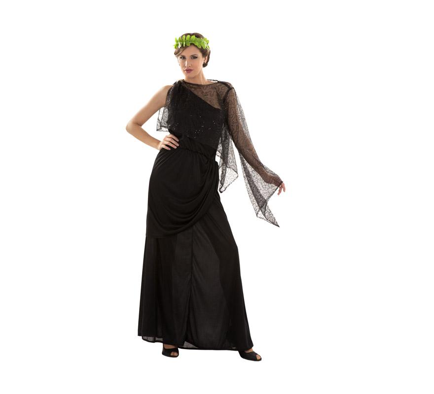 Disfraz de Diosa Plebeya para mujer. Talla Standar M-L = 38/42. Incluye vestido, capa con gasa y tocado.