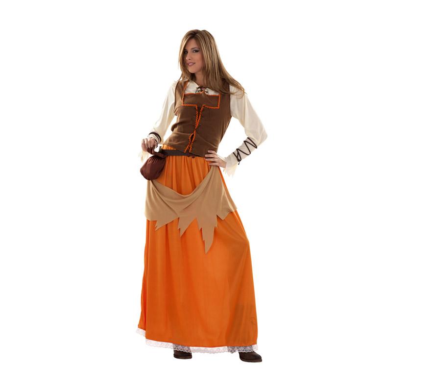 Disfraz de Campesina o Tabernera Medieval para mujer. Talla standar M-L = 38/42. Incluye vestido, chaleco, cinturón con limosnera y cintas brazos.