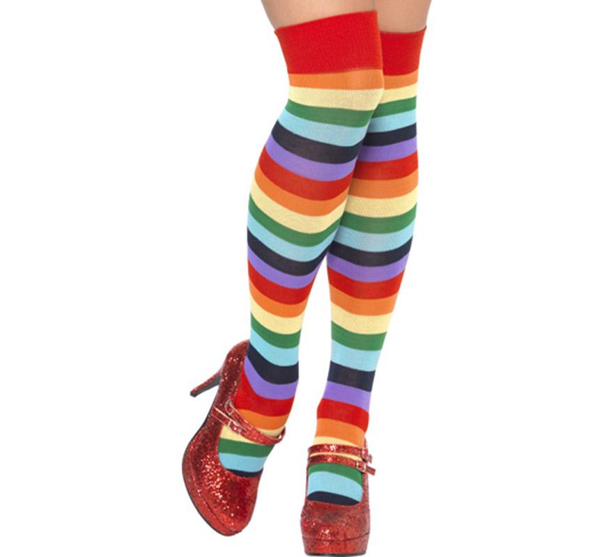 Calcetines largos o Medias multicolor de Payaso. Talla Universal. También pueden servir para los disfraces de Hippie por el colorido que tienen.