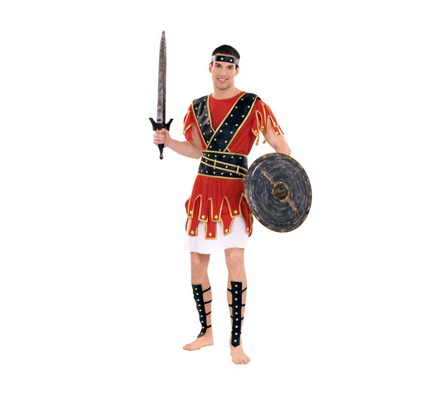 Disfraz de Centurión para hombre. Talla Standar M-L = 52/54. Incluye vestido, cinturón, cinta de la cabeza y adorno piernes. Escudo y espada NO incluidos, podrás verlos en la sección de Complementos. También se usa como disfraz de Guerrero Romano para teatros o Cabalgatas en Navidad.