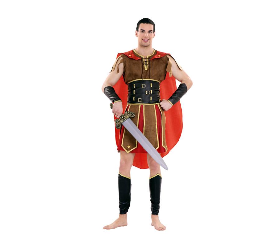 Disfraz de Romano Tribuno para hombre. Talla Standar  M-L = 52/54. Incluye vestido, cinturón, cubre piernas, capa y manguitos. Espada NO incluida, podrás verla en la sección de Complementos. También se usa como disfraz de Guerrero Romano para teatros o Cabalgatas en Navidad.