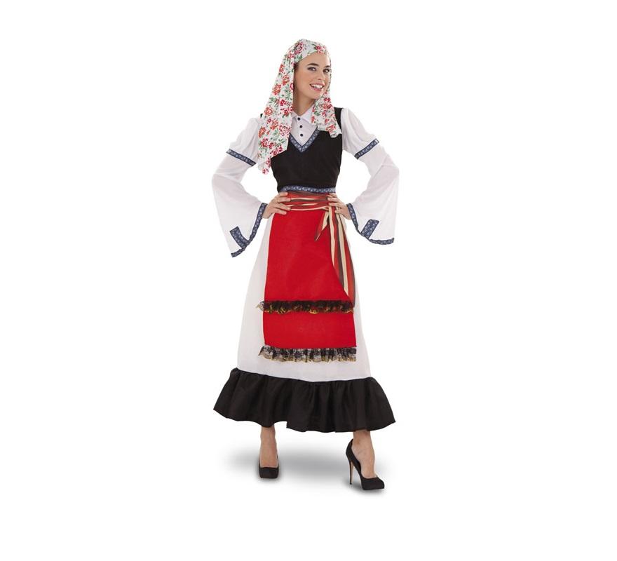 Disfraz de Griega para mujer. Talla standar M-L = 38/42. Incluye pañuelo de la cabeza, camisa, chaleco, fajín y falda. También sirve como disfraz de Pastora o de Pastorcilla de Navidad.