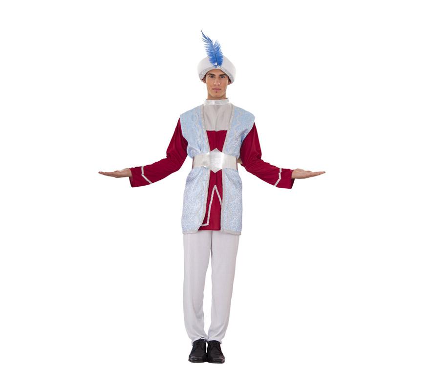 Disfraz de Rajá o Paje para hombre. Talla standar M-L = 52/54. Incluye turbante, casaca, chaleco largo, pantalón y cinturón. Disfraz de Paje de los Reyes Magos para Navidad.