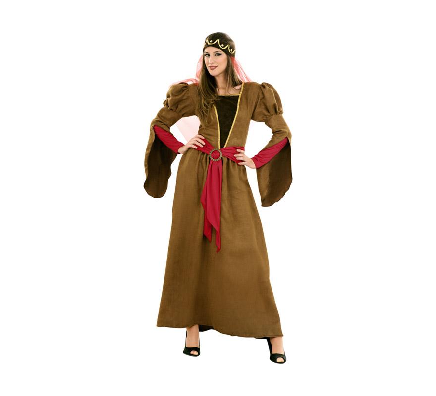 Disfraz de Juliana Medieval para mujeres. Talla standar M-L 38/42. Incluye vestido, cinturón y tocado. Disfraz de Julieta o Princesa Medieval para Ferias o Fiestas Medievales.