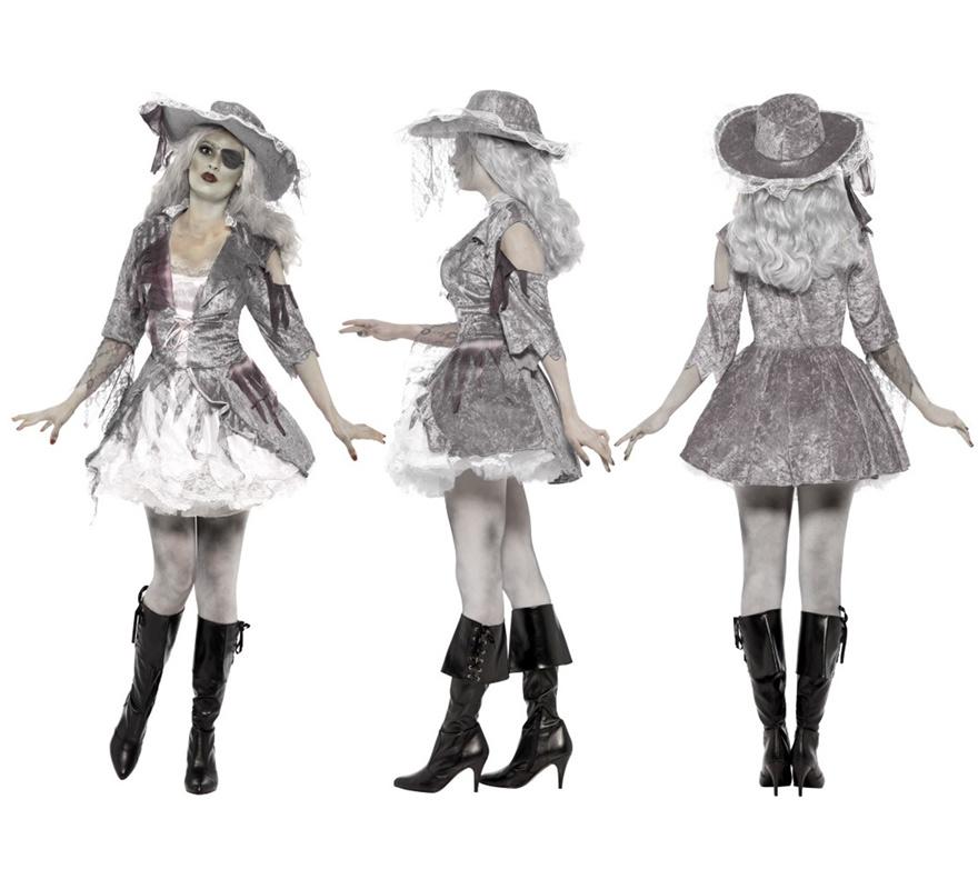 Disfraz Tesoro Pirata de Barco Fantasma para Mujer talla L. Disfraz Único y de Alta Calidad con el que te convertirás en una auténtica espíritu Pirata errante de los siete mares. Se compone de Vestido y Sombrero. Completa este escalofriante disfraz con complementos de nuestra sección de accesorios como peluca, medias, espada, pistola o trabuco, maquillaje, parche, garfio, cubrebotas ...
