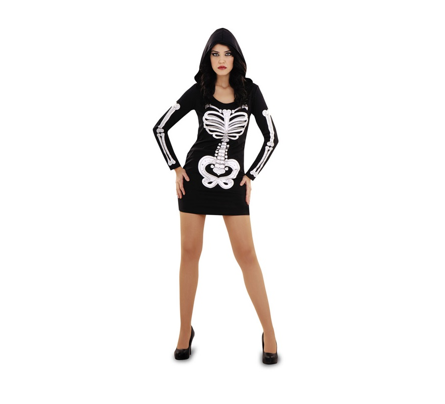 Disfraz de Esqueleto plata para mujer. Talla Standar M-L 38/42. Incluye vestido con capucha.