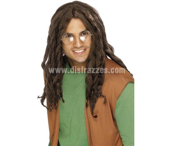 Peluca larga Jamaicana con Rastas castaña. También vale para Hippie y para disfrazarse de Bob Marley.