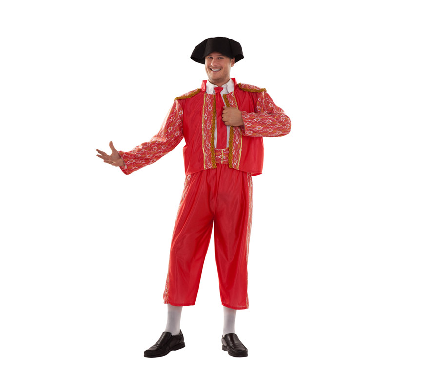 Disfraz barato de Torero para hombre. Talla XXL = 58/62. Incluye chaqueta, pantalón, fajín, corbata y montera de tela. Un disfraz ideal para Despedidas de Soltero.