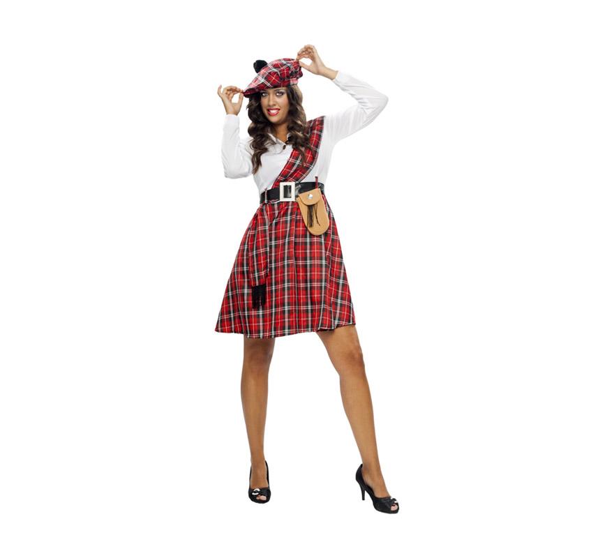 Disfraz de Escocesa para mujer. Talla XXL = 48/52. Incluye boina, camisa, manto, cinturón, bolso y falda.