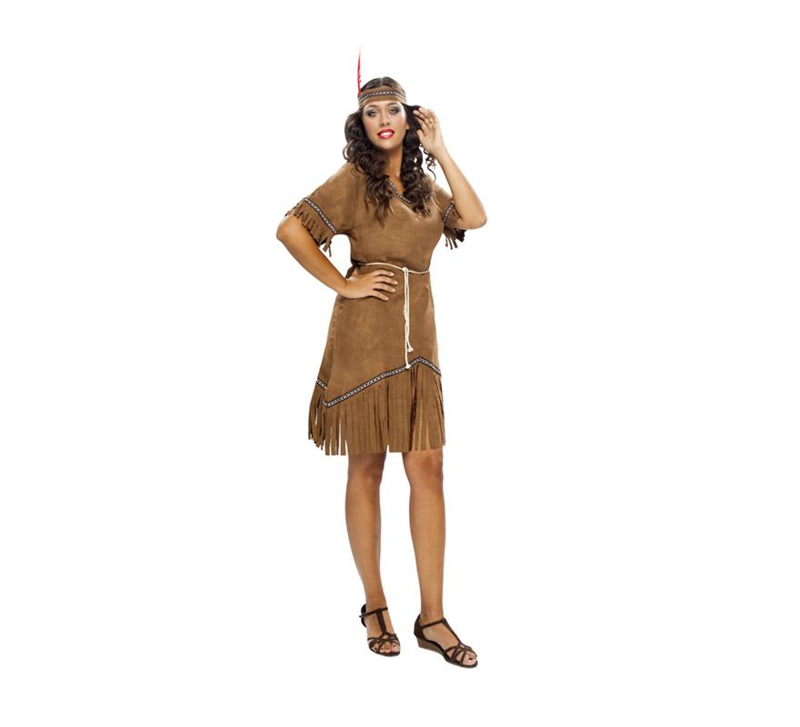 Disfraz barato de India para mujer. Talla XXL = 48/52. Incluye vestido, cinturón y cinta de la cabeza.