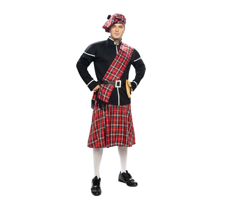 Disfraz de Escocés para hombre. Talla XXL 58/62. Incluye boina, chaqueta, manto, cinturón, bolso y falda. Éste disfraz está en talla M-L con la ref. 02674BT y en talla S con la ref. 11899BT y en la talla XL con la ref. 05234BT.