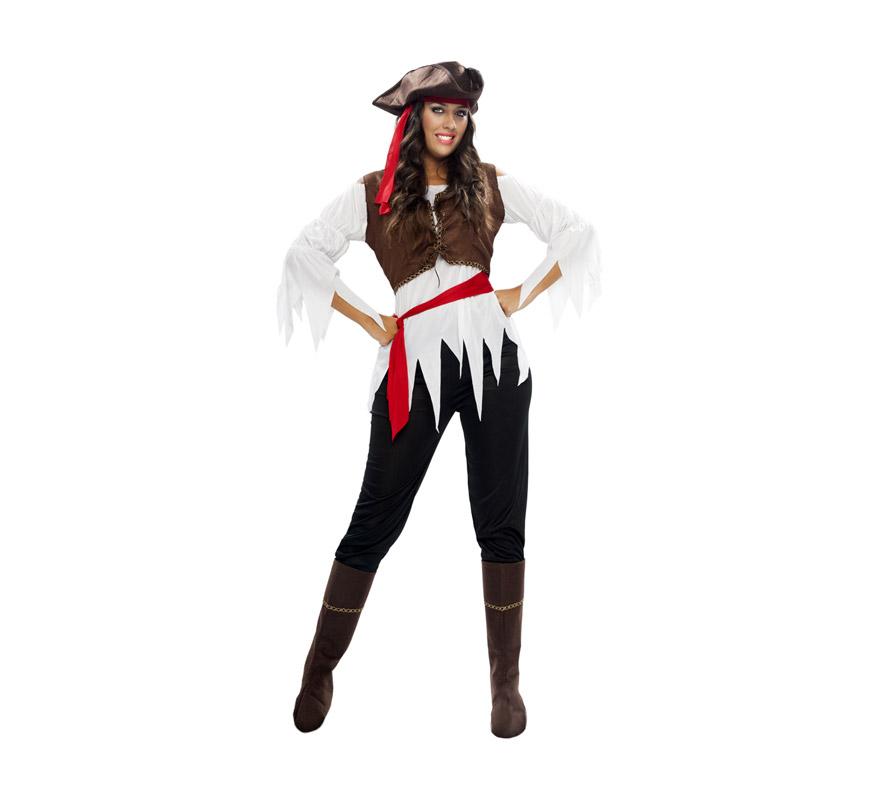Disfraz barato de Pirata Caribeña para mujer. Talla XXL = 48/52. Incluye gorro, camisa, chaleco, cinturón, pantalón y cubrebotas.
