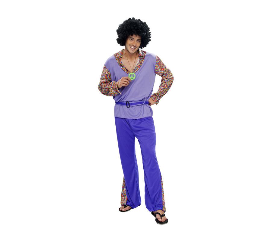 Disfraz de Hippie Adulto Económico. Talla XXL = 58/62. Incluye camiseta, pantalón, cinturón y collar. Peluca NO incluida, podrás verla en las sección de complementos y pelucas.