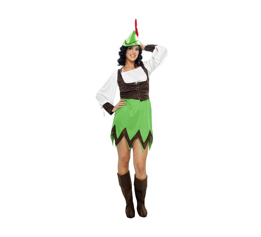 Disfraz barato de Robin Hood para mujer. Talla XXL = 48/52. Incluye sombrero, blusa, chaleco, falda y cubrebotas.