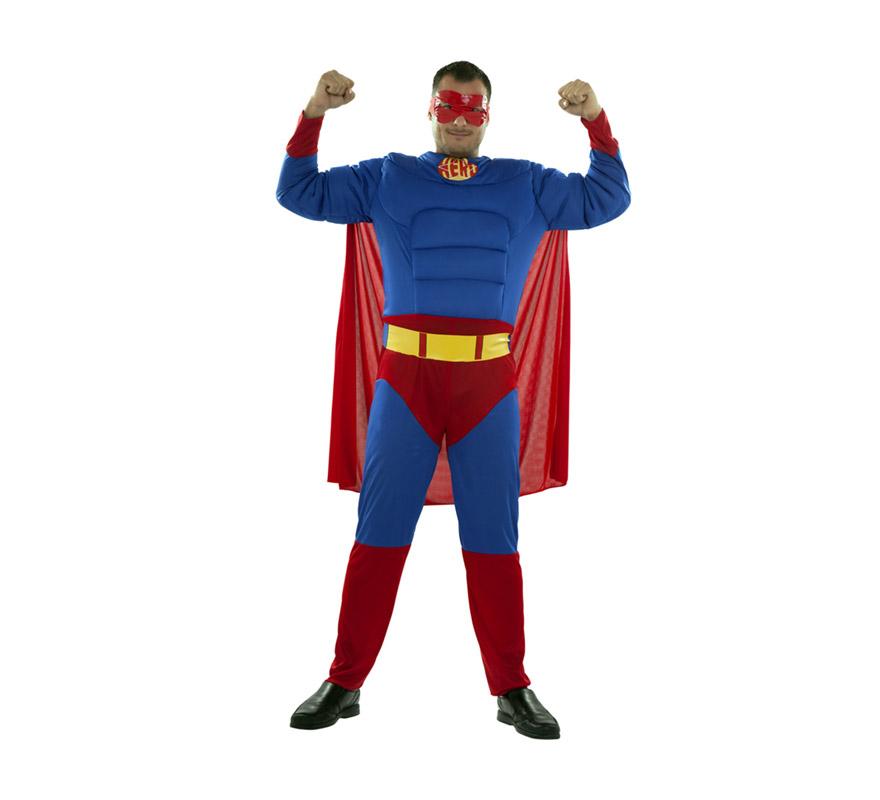 Disfraz barato de Héroe Musculoso adulto. Talla XXL = 58/62. Incluye mono con relleno imitando músculos, cinturón, antifaz y capa. Para disfrazarte e ir igual que el mismísimo Superman. Perfecto para Despedidas de Soltero.